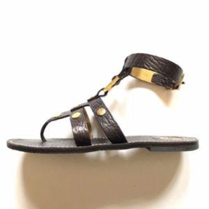 Tory Burch Briza Studded Sandals Black Gold 8.5